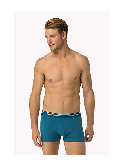 TOMMY HILFIGER 3-Pack Cotton Trunks - FRENCH BLUE-PT/TRUE BLUE-PT/NAVY BLAZER- - TOMMY HILFIGER 3-pack - main image