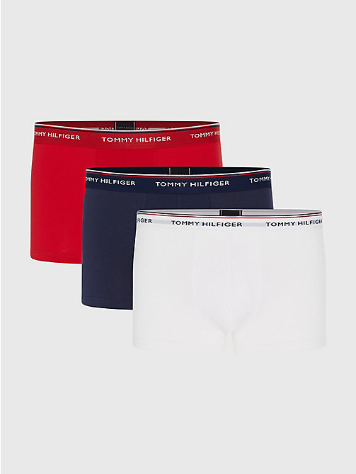 TOMMY HILFIGER 3-Pack Cotton Trunks - WHITE/ TANGO RED/ PEACOAT - TOMMY HILFIGER Three Packs - main image