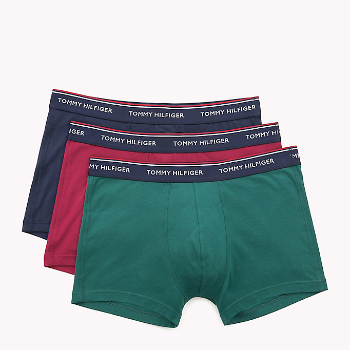 TOMMY HILFIGER 3-Pack Cotton Trunks - DEEP CLARET/CLASSIC BLUE/PEACOAT (PEACOA - TOMMY HILFIGER Men - detail image 4