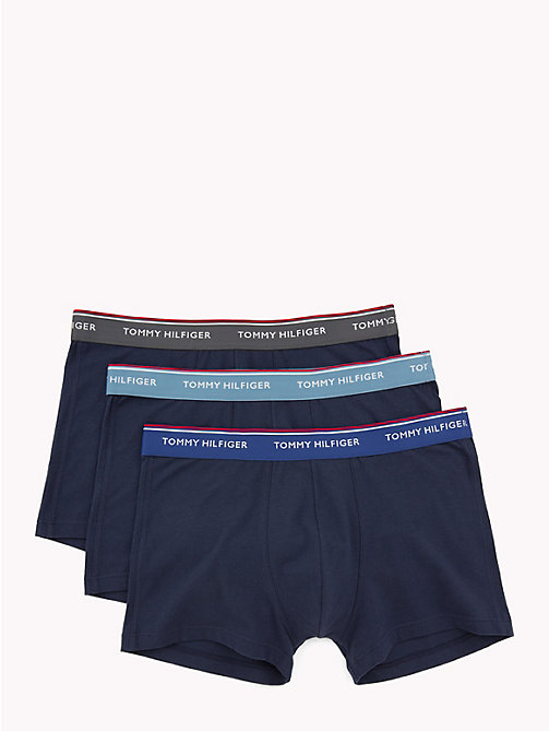 TOMMY HILFIGER 3 Pack Cotton Boxer Shorts - BLUE HVN/MAZZ BLUE/IRON GATE(PCOAT) - TOMMY HILFIGER Packs - main image