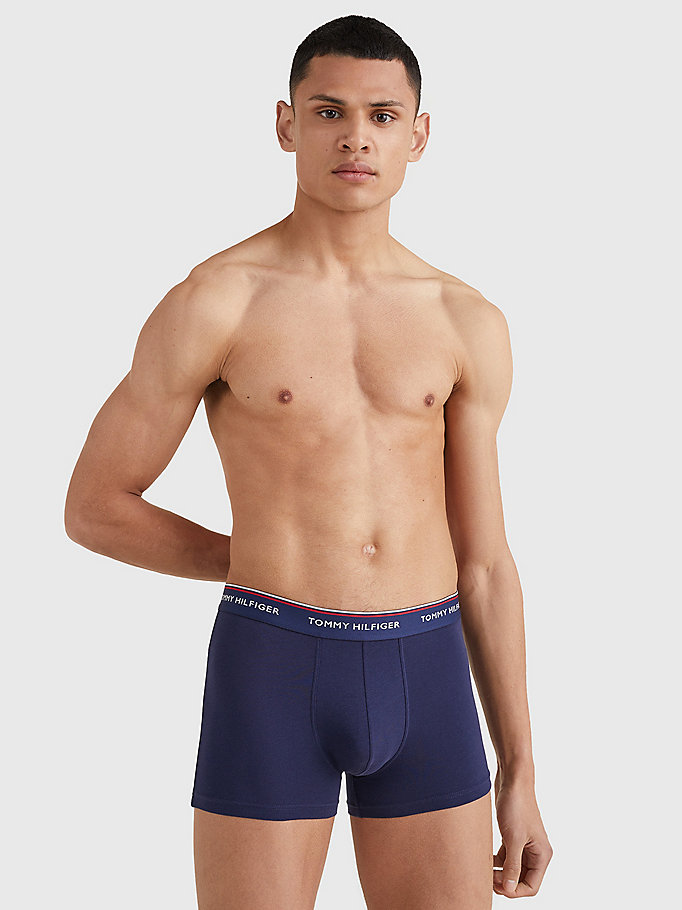TOMMY HILFIGER 3-Pack Cotton Trunks - BAYBERRY/MALIBU BLUE/PEACOAT - TOMMY HILFIGER Men - detail image 2