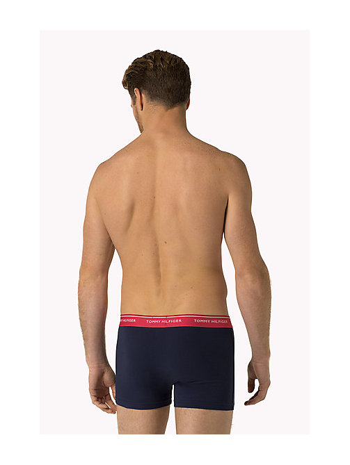 TOMMY HILFIGER 3-Pack Cotton Trunks - BACHELOR BUTTON / RASPBERRY / COLUMBIA -  Three Packs - detail image 1