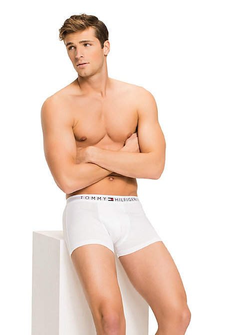 TOMMY HILFIGER Branded Cotton Boxer Shorts - WHITE - TOMMY HILFIGER Trunks - main image