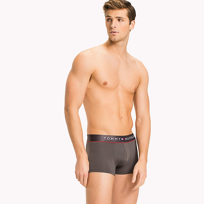 grey microfibre low rise flex trunks for men tommy hilfiger
