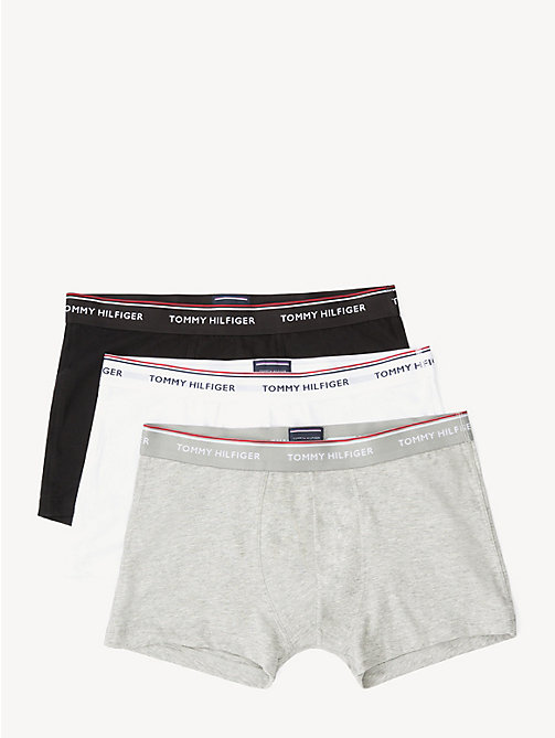 TOMMY HILFIGER Set van 3 katoenen boxershorts - BLACK / GREY HEATHER BC05 / WHITE - TOMMY HILFIGER Grote Maten - main image