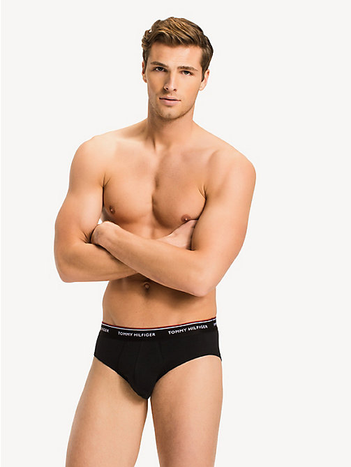 TOMMY HILFIGER 3 Pack Signature Stripe Briefs - BLACK - TOMMY HILFIGER Underwear - detail image 1