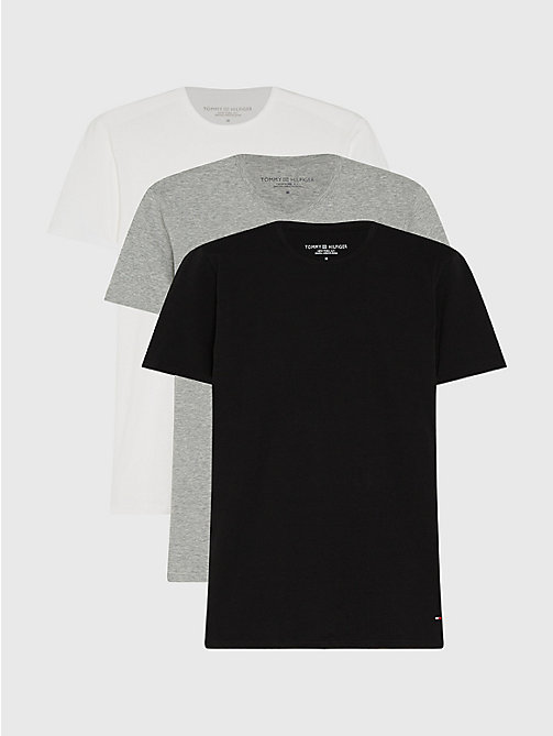 TOMMY HILFIGER 3 Pack V-Neck Cotton T-Shirts - BLACK / GREY HEATHER BC05 / WHITE - TOMMY HILFIGER Pyjama Tops - main image