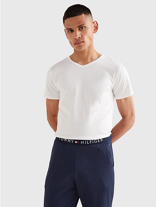 TOMMY HILFIGER 3 Pack V-Neck Cotton T-Shirts - WHITE - TOMMY HILFIGER Lounge & Nightwear - main image