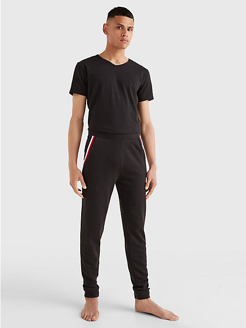 TOMMY HILFIGER 3 Pack V-Neck Cotton T-Shirts - BLACK - TOMMY HILFIGER Pyjama Tops - detail image 1
