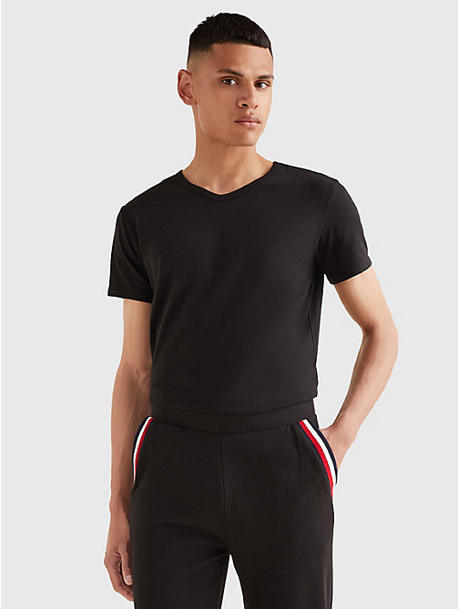 TOMMY HILFIGER 3 Pack V-Neck Cotton T-Shirts - BLACK - TOMMY HILFIGER Lounge & Nightwear - main image