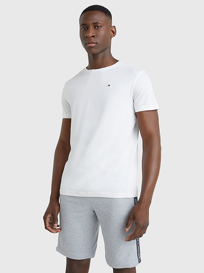 white organic cotton t-shirt for men tommy hilfiger