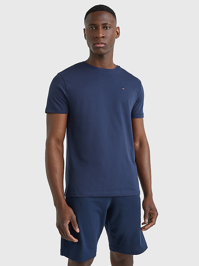 blue organic cotton t-shirt for men tommy hilfiger