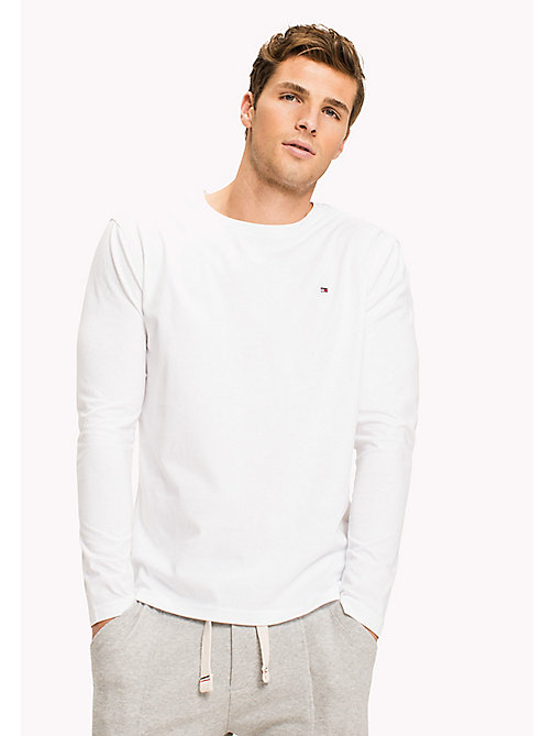 TOMMY HILFIGER Organic Cotton Long Sleeve Top - WHITE - TOMMY HILFIGER Lounge & Nightwear - main image