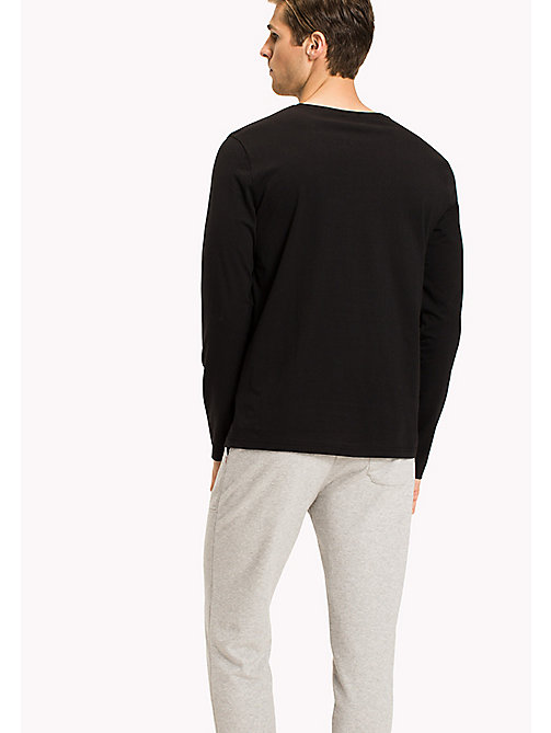 TOMMY HILFIGER Organic Cotton Long Sleeve Top - BLACK - TOMMY HILFIGER Lounge & Nightwear - detail image 1