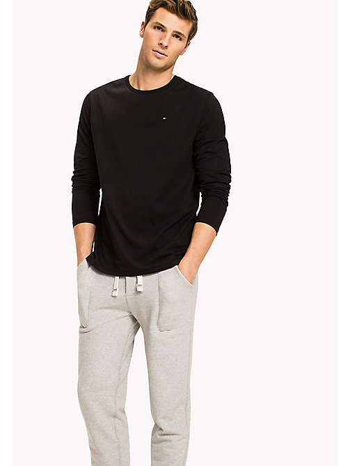 TOMMY HILFIGER Organic Cotton Long Sleeve Top - BLACK - TOMMY HILFIGER Lounge & Nightwear - main image