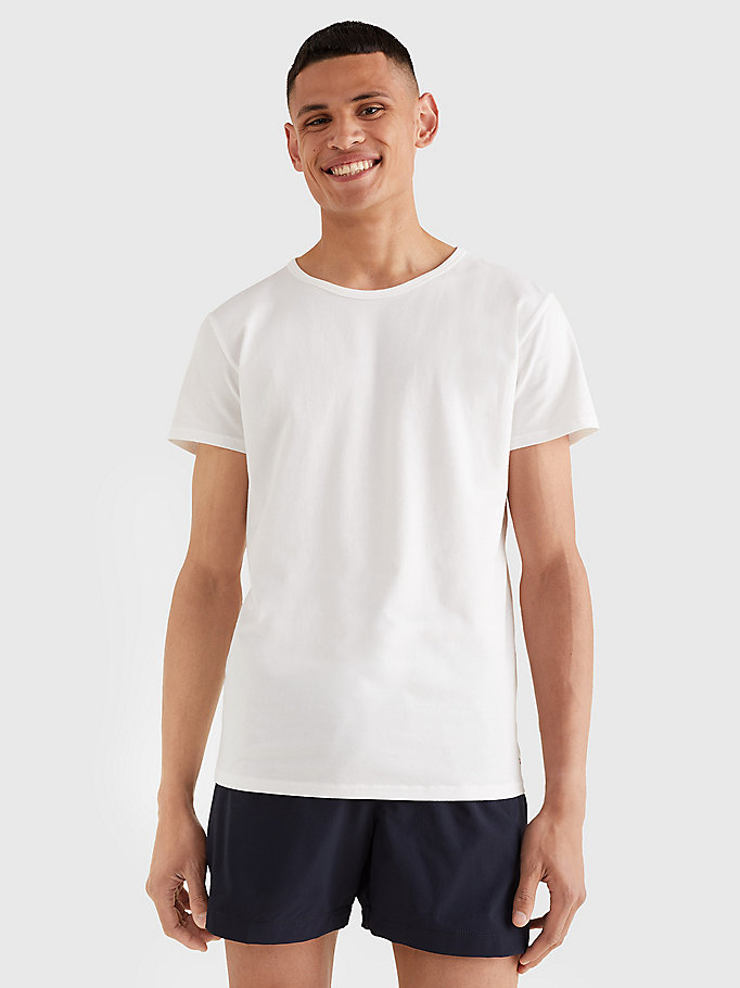 white 3 pack essential cotton t-shirts for men tommy hilfiger