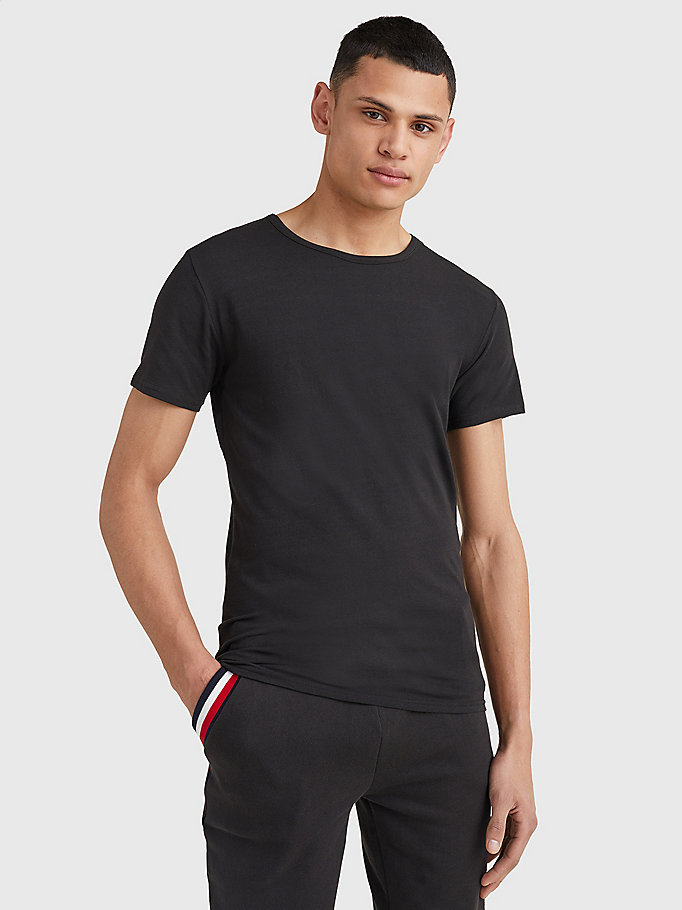 black 3 pack essential cotton t-shirts for men tommy hilfiger