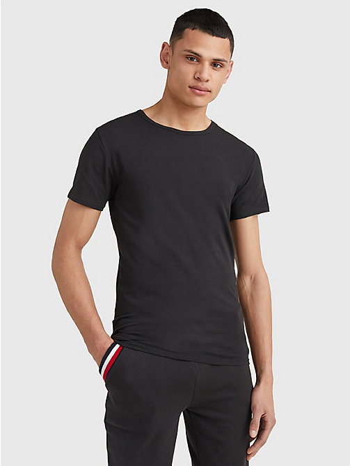 TOMMY HILFIGER 3 Pack Essential Cotton T-Shirts - BLACK - TOMMY HILFIGER Pyjama Tops - main image