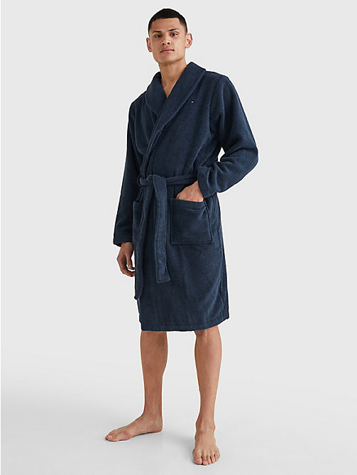 TOMMY HILFIGER Cotton Towelling Bathrobe - NAVY BLAZER-PT - TOMMY HILFIGER Lounge & Nightwear - detail image 1