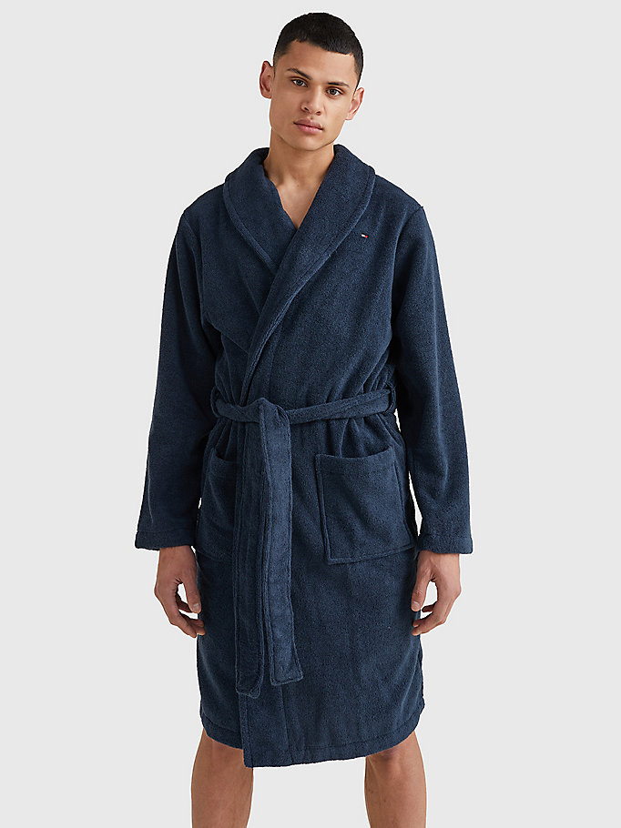 blue cotton towelling bathrobe for men tommy hilfiger