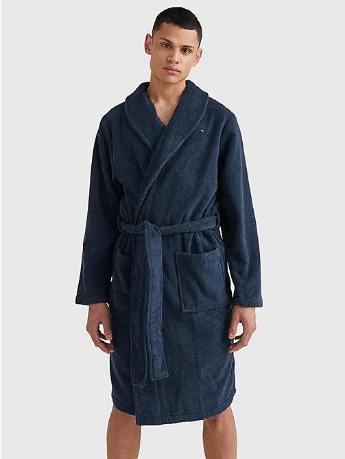 TOMMY HILFIGER Cotton Towelling Bathrobe - NAVY BLAZER-PT - TOMMY HILFIGER Lounge & Nightwear - main image