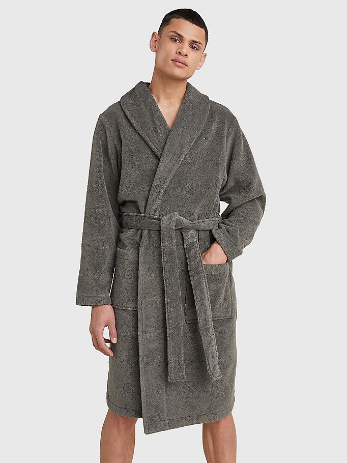 grey cotton towelling bathrobe for men tommy hilfiger