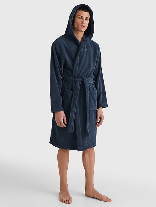 TOMMY HILFIGER Pure Cotton Hooded Bathrobe - NAVY BLAZER-PT - TOMMY HILFIGER Bathrobes - detail image 1