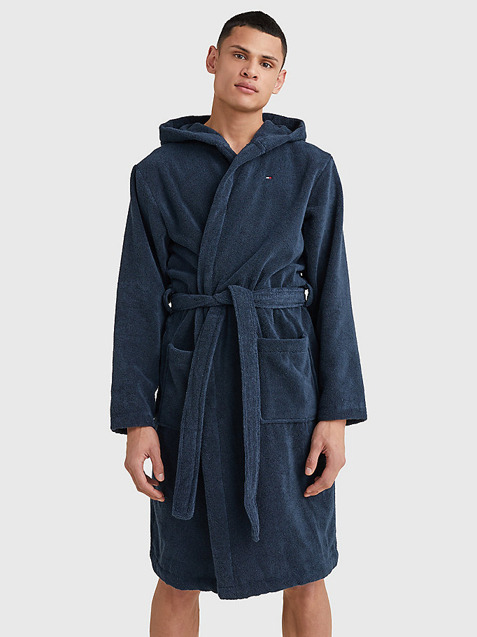 blue pure cotton hooded bathrobe for men tommy hilfiger