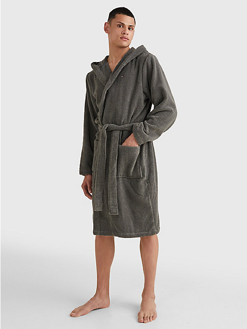 TOMMY HILFIGER Pure Cotton Hooded Bathrobe - MAGNET - TOMMY HILFIGER Lounge & Nightwear - detail image 1