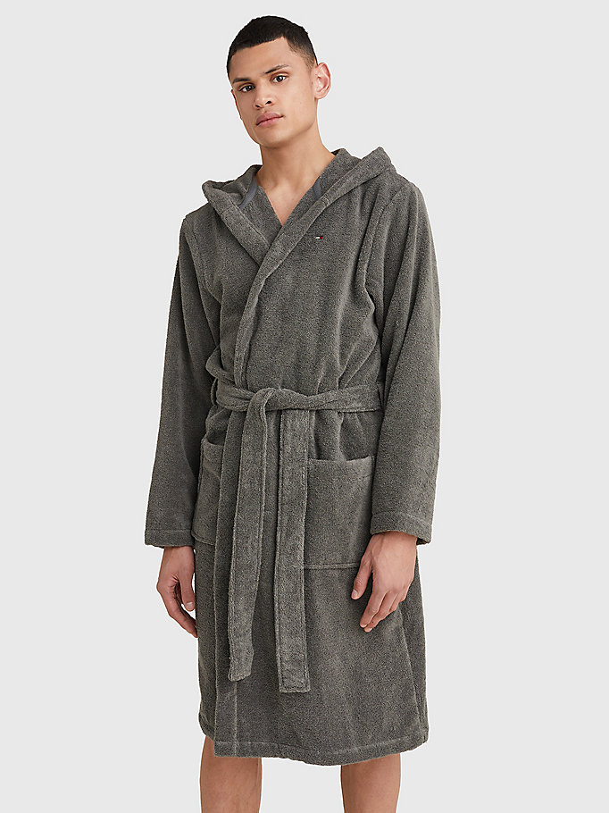 TOMMY HILFIGER Pure Cotton Hooded Bathrobe - NAVY BLAZER-PT - TOMMY HILFIGER Men - main image