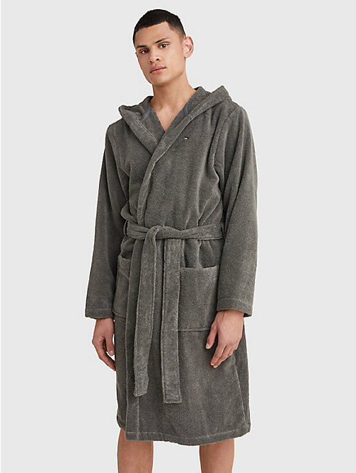 TOMMY HILFIGER Pure Cotton Hooded Bathrobe - MAGNET - TOMMY HILFIGER Bathrobes - main image
