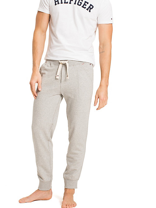 TOMMY HILFIGER Tapered joggingbroek met elastische taille - GREY HEATHER BC05 - TOMMY HILFIGER Pyamabroeken - main image