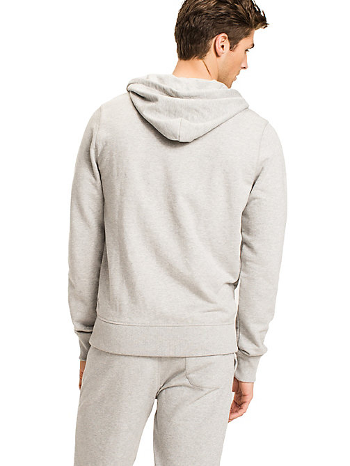 TOMMY HILFIGER Zip Thru Cotton Blend Hoodie - GREY HEATHER BC05 - TOMMY HILFIGER Pyjama Tops - detail image 1