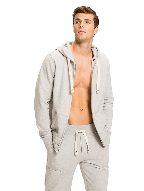 TOMMY HILFIGER Zip Thru Cotton Blend Hoodie - GREY HEATHER BC05 - TOMMY HILFIGER Pyjama Tops - main image