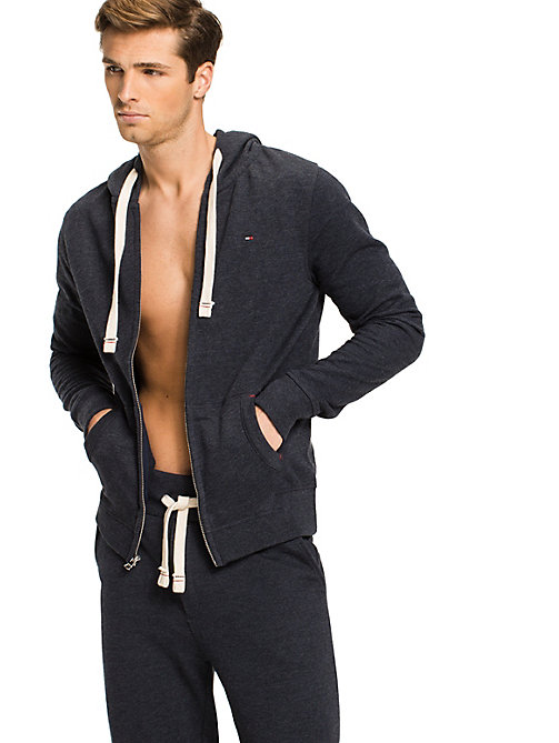 TOMMY HILFIGER Zip Thru Cotton Blend Hoodie - NAVY BLAZER - TOMMY HILFIGER Pyjama Tops - main image