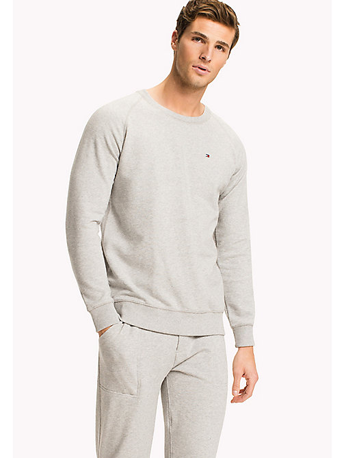 TOMMY HILFIGER Long Sleeve Track Top - GREY HEATHER BC05 - TOMMY HILFIGER Pyjama Tops - main image