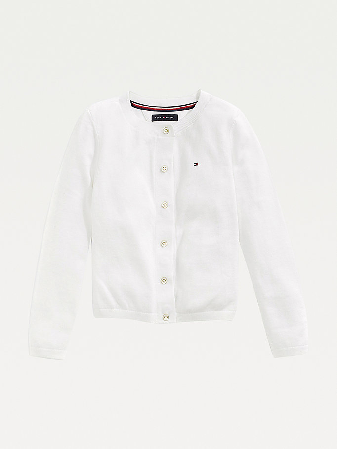 white adaptive jersey cardigan for girls tommy hilfiger