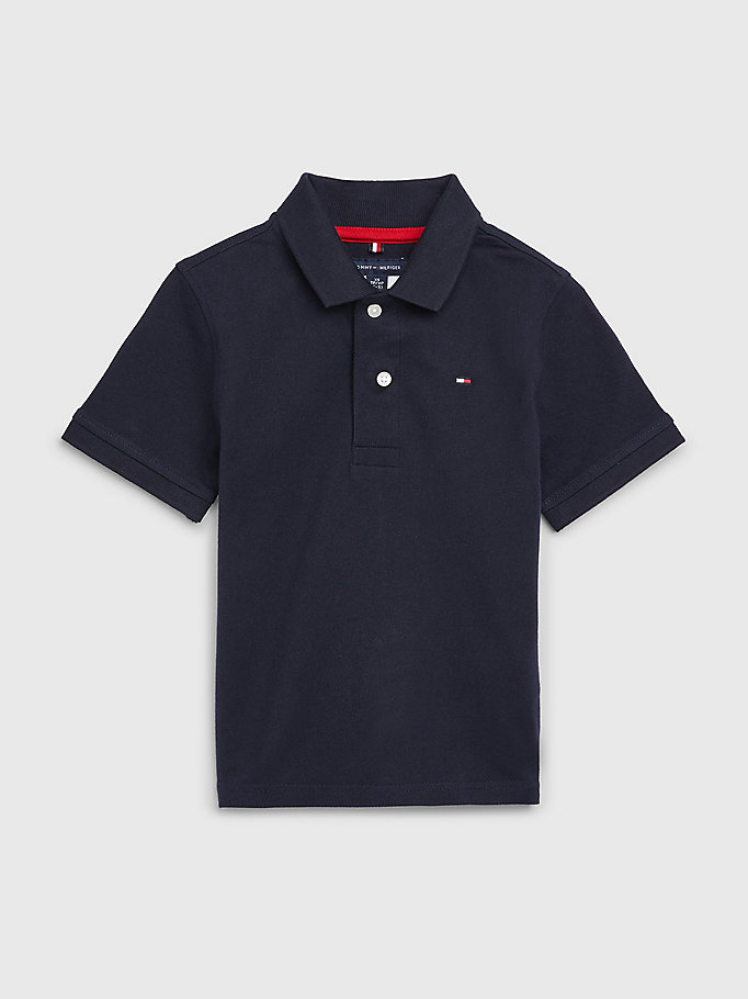 blue adaptive short sleeve polo for boys tommy hilfiger