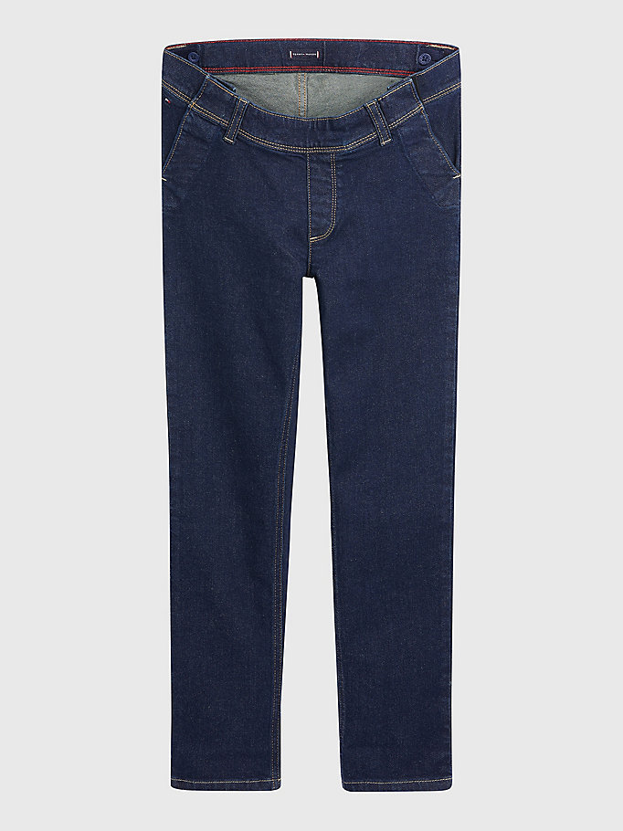 blue adaptive seated fit slim straight jeans for girls tommy hilfiger