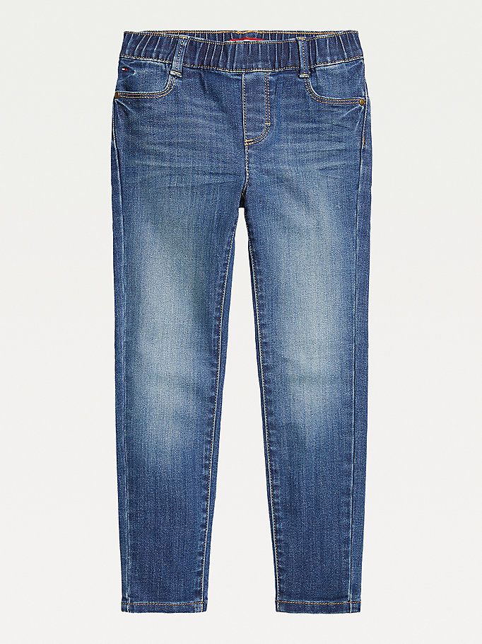 blauw adaptive seated fit skinny jeans voor girls - tommy hilfiger
