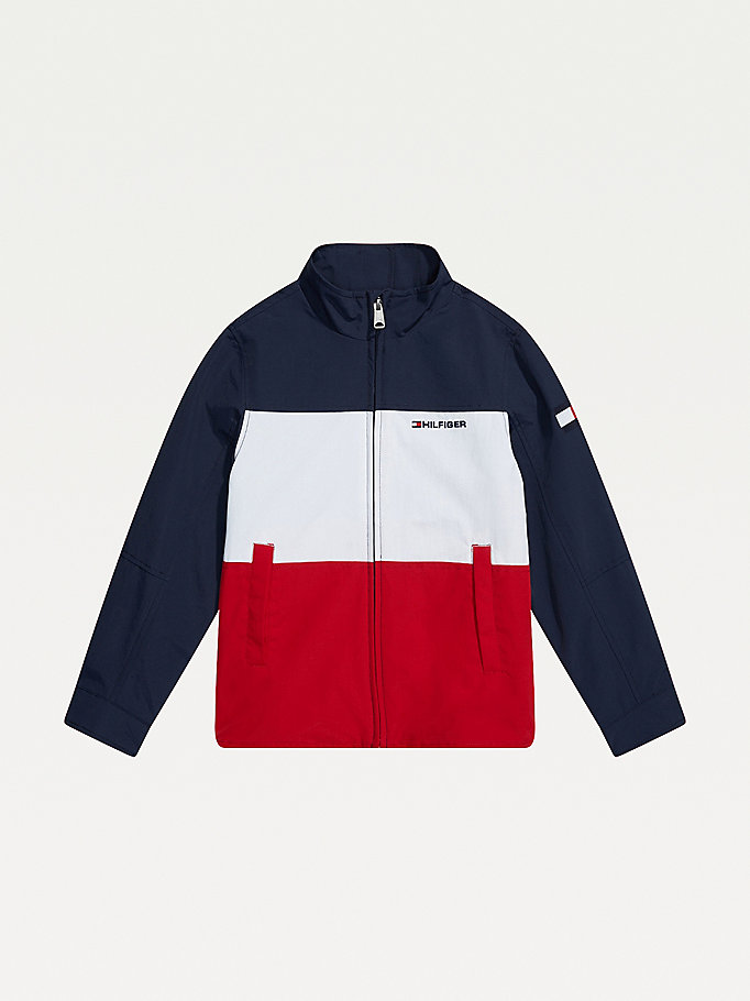 blue adaptive seated wear yachting jacket for boys tommy hilfiger