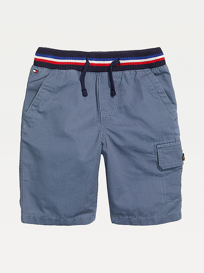 blue adaptive signature waistband pure cotton shorts for boys tommy hilfiger