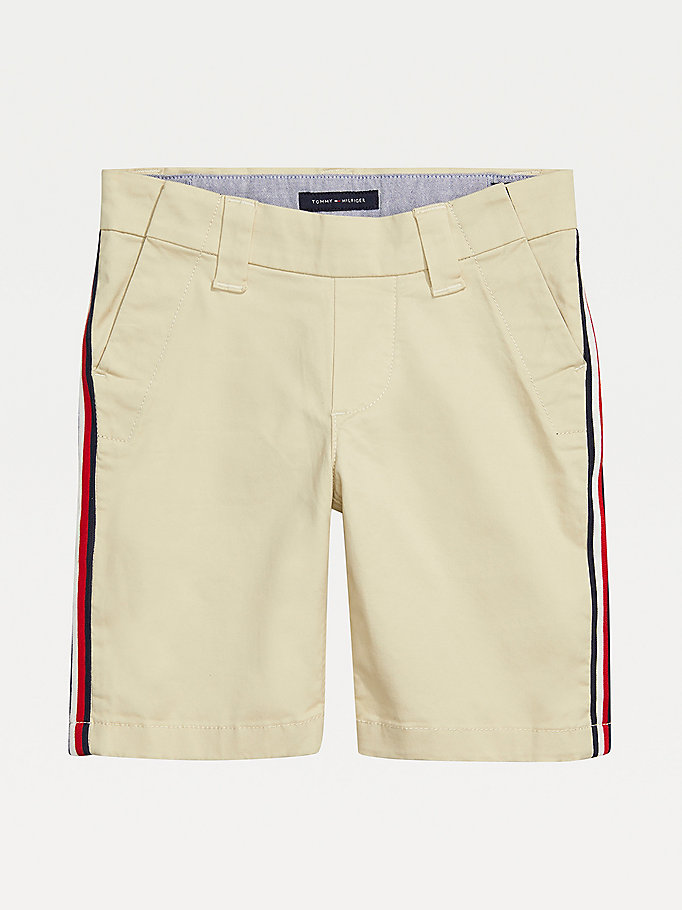 white adaptive seated fit stripe shorts for boys tommy hilfiger