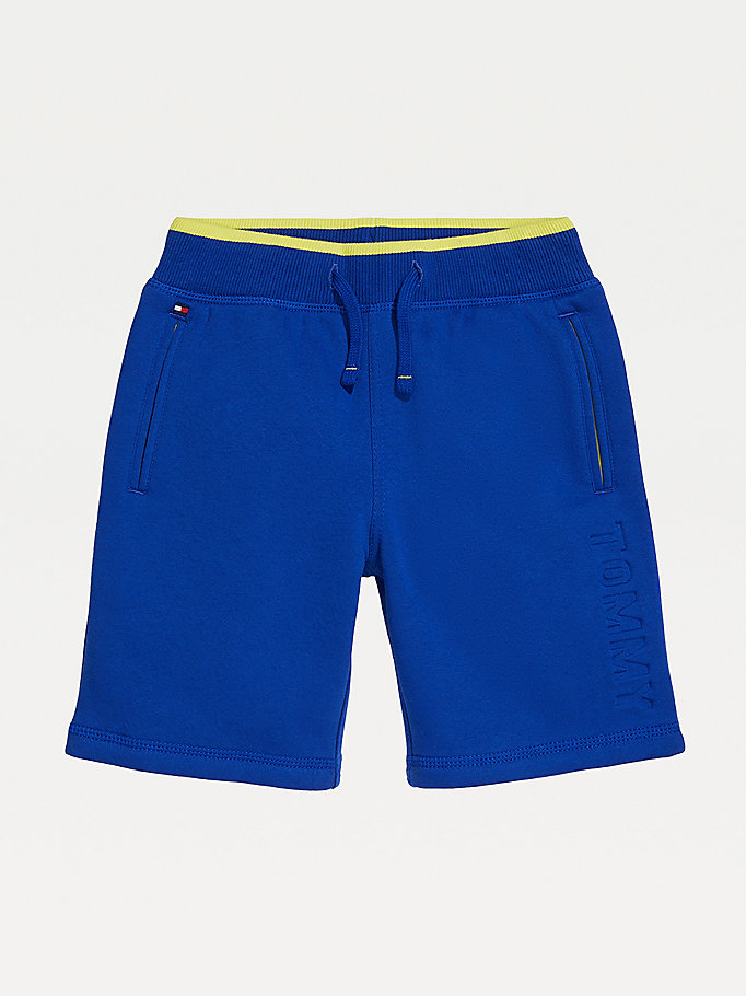 blue adaptive signature elasticated waist shorts for boys tommy hilfiger