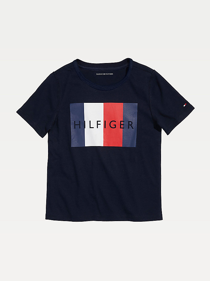blue adaptive sensory flag logo t-shirt for boys tommy hilfiger