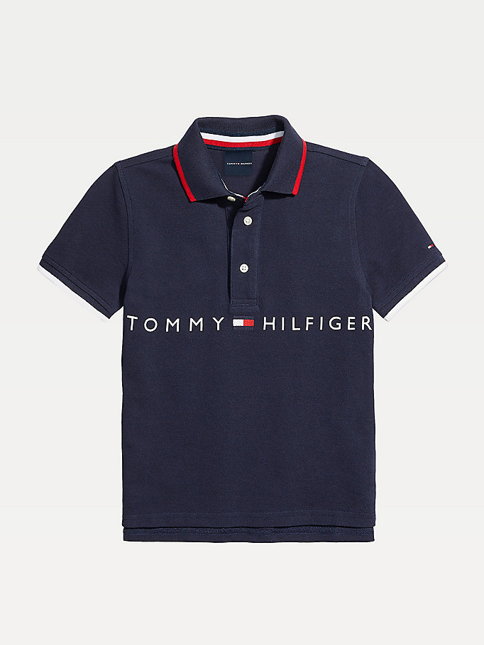 blue adaptive signature logo pure cotton polo for boys tommy hilfiger