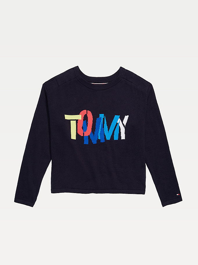 blue adaptive pure cotton signature logo jumper for girls tommy hilfiger