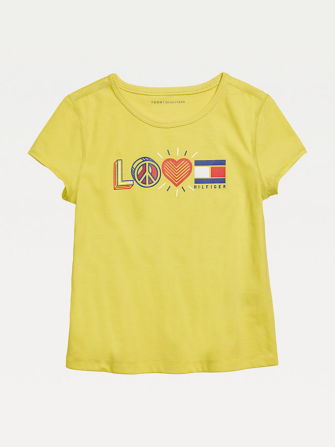 yellow adaptive sensory tommy hilfiger logo t-shirt for girls tommy hilfiger
