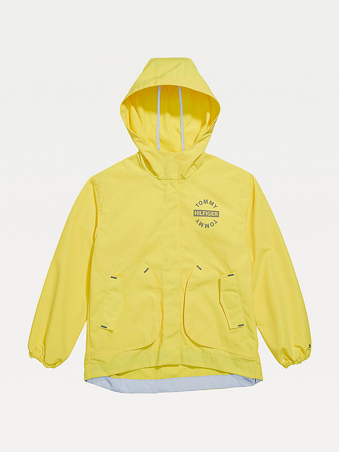 yellow adaptive magnetic closure hooded jacket for girls tommy hilfiger