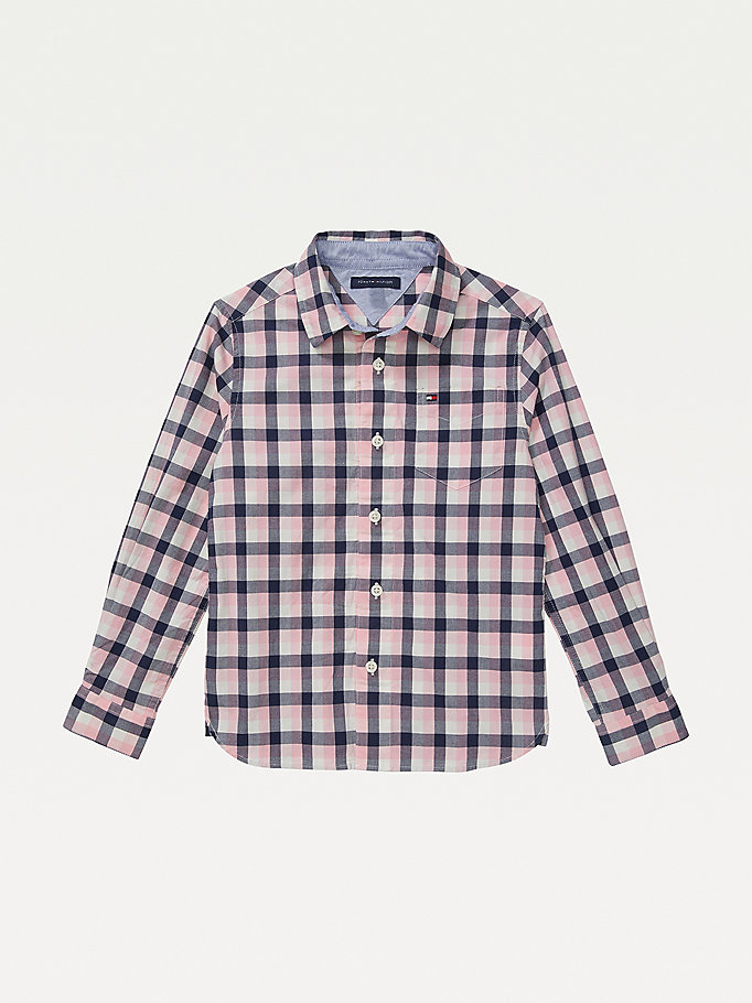 pink adaptive checked shirt for boys tommy hilfiger